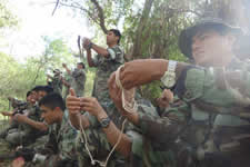 KAPAP is originally a  military system, these soldiers are learning how to create restraint knots with a rope