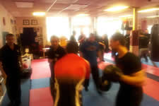 KAPAP Telford level 1 conducting pressure drill to test the effectiveness of self defence techniques