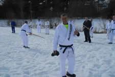 Spirit training in Londonderry New Hampshire USA, practicing suburi drills - later barefoot